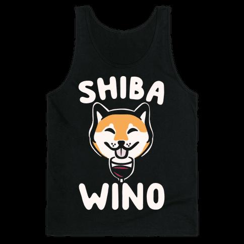 Shiba Wino White Print Tank Top