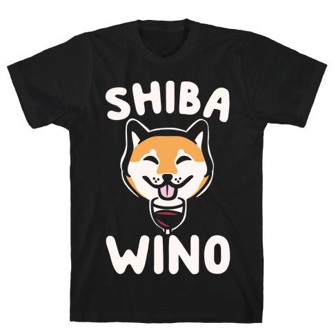 Shiba Wino White Print T-Shirt