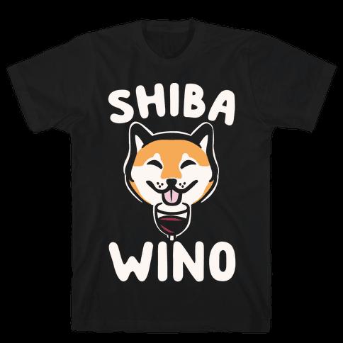 Shiba Wino White Print Mens T-Shirt
