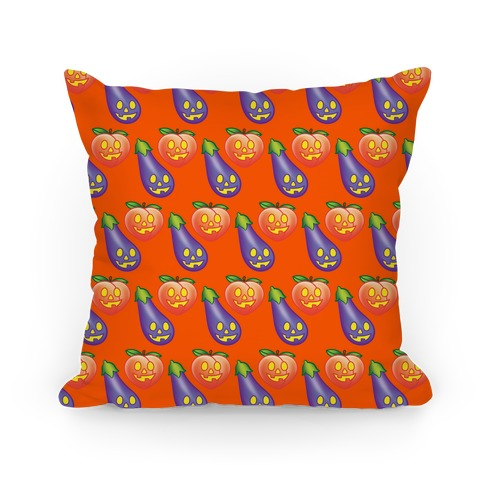Eggplant and Peach Jack-O-Lantern Pattern Pillow