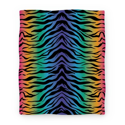 Tiger Stripe Rainbow 90s Pattern Blanket