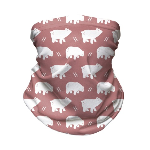 Bear Dusty Rose Boho Pattern Neck Gaiter