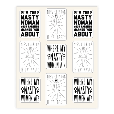 Miss Clinton If Ya' Nasty Sticker Sheet Sticker/Decal Sheet
