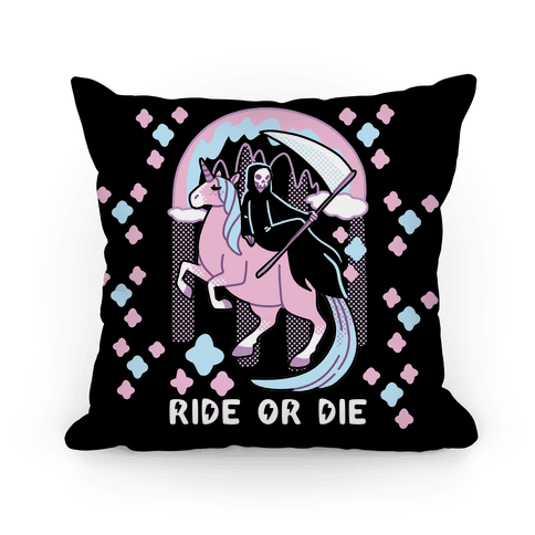 Ride or Die - Grim Reaper and Unicorn Pillow