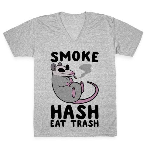 Smoke Hash, Eat Trash V-Neck Tee Shirt