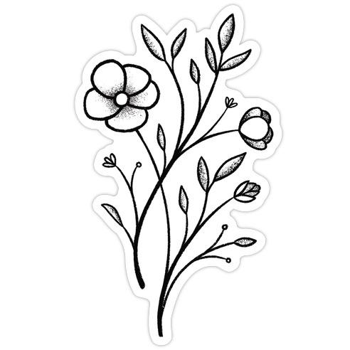 Wildflower Stippled Tattoo Die Cut Sticker