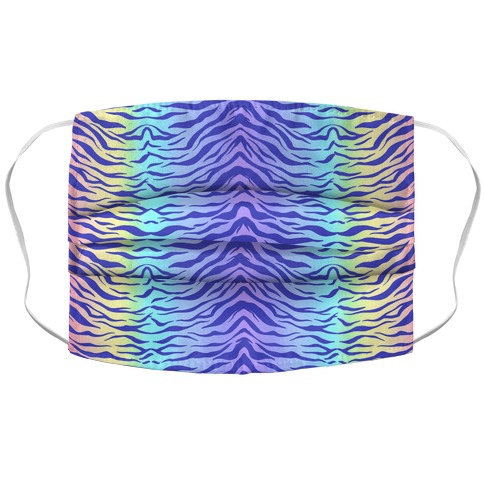 Tiger Stripe Pastel Rainbow Pattern Accordion Face Mask