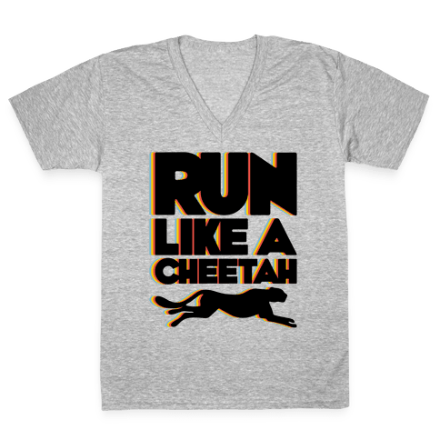 Run Like A Cheetah V-Neck Tee Shirt