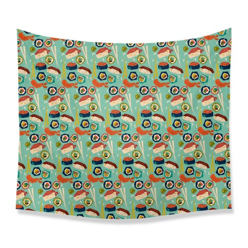 Mid-Century Modern Sushi Pattern Tapestry