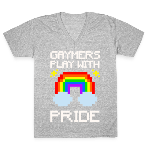 Gaymers Play With Pride White Print V-Neck Tee Shirt