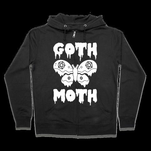 Goth Moth Zip Hoodie