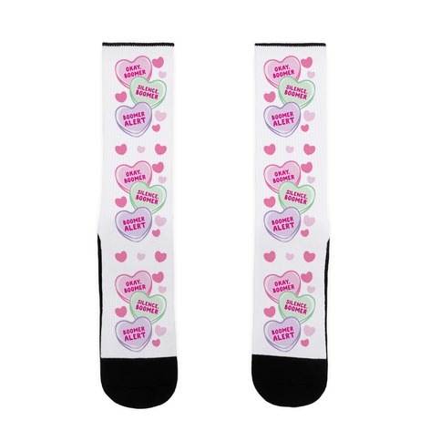 Okay Boomer Conversation Hearts Sock