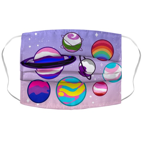 LGBTQ+ Planets Pastel Accordion Face Mask