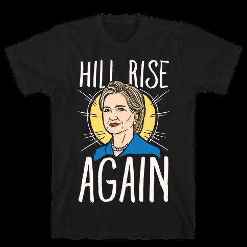 Hill Rise Again White Print Mens T-Shirt