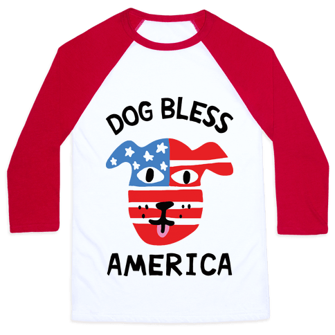 Dog Bless America Baseball Tee