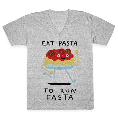 Eat Pasta To Run Fasta V-Neck Tee Shirt