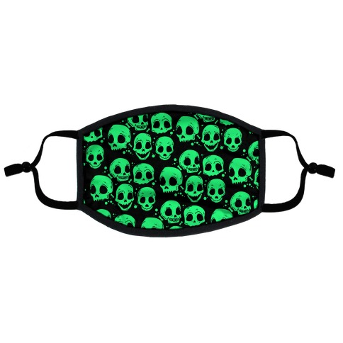 Neon Green Skulls Pattern Flat Face Mask