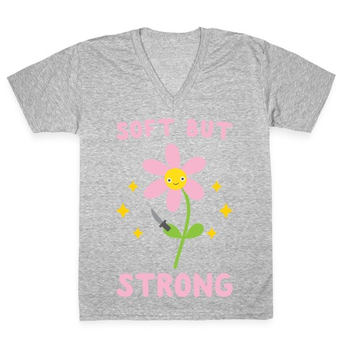 Soft But Strong Flower V-Neck Tee Shirt