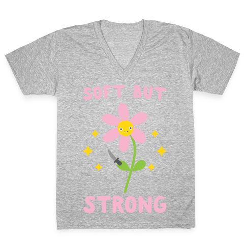 Soft But Strong Flower V-Neck Tee Shirt