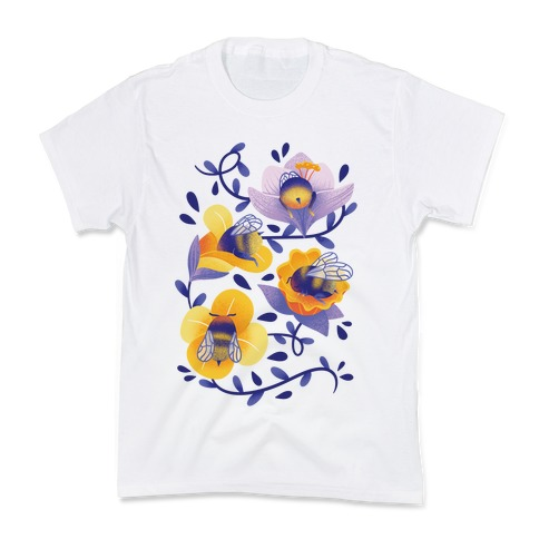 Sleepy Bumble Bee Butts Floral Kids T-Shirt