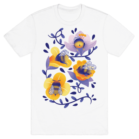 Sleepy Bumble Bee Butts Floral Mens/Unisex T-Shirt