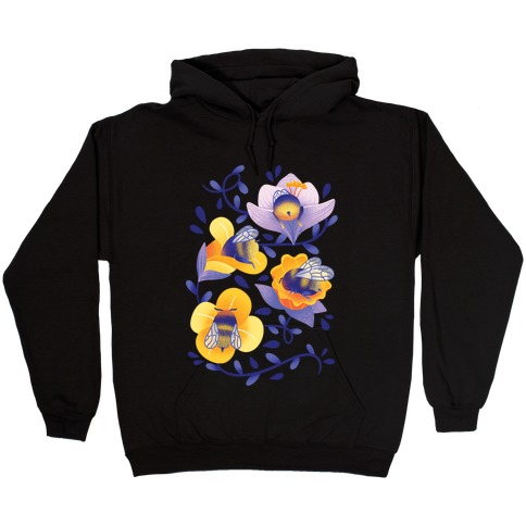 Sleepy Bumble Bee Butts Floral Hooded Sweatshirt