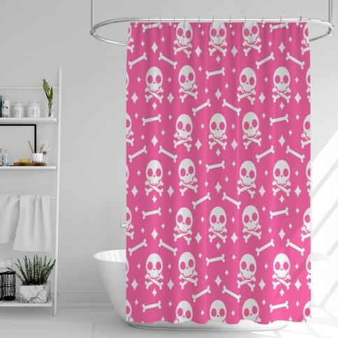 Cute Skull N' Bones Pattern (Pink) Shower Curtain