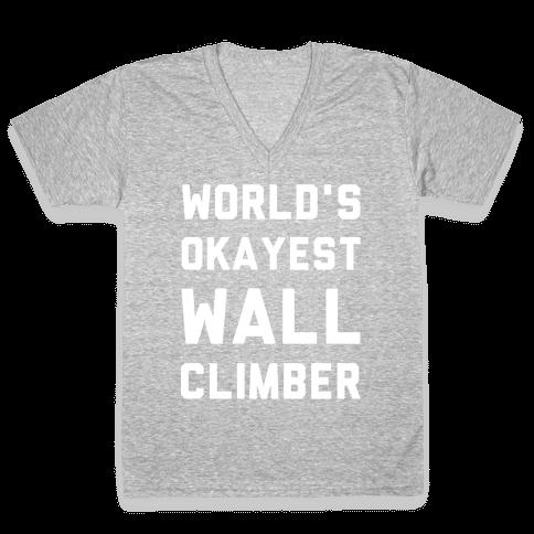 World's Okayest Wall Climber V-Neck Tee Shirt