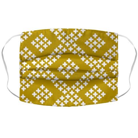 Little Cross Pattern Yellow Accordion Face Mask