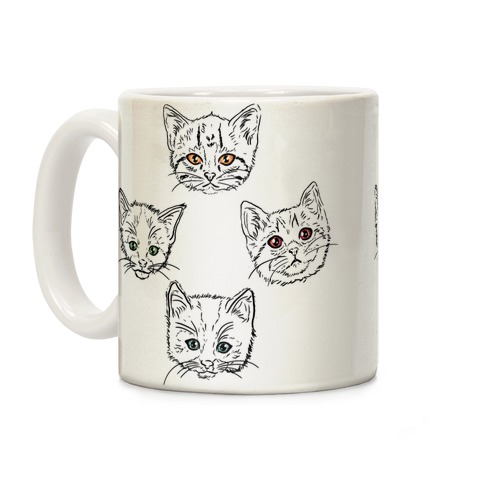 Colorful Eyed Kitten Pattern Coffee Mug