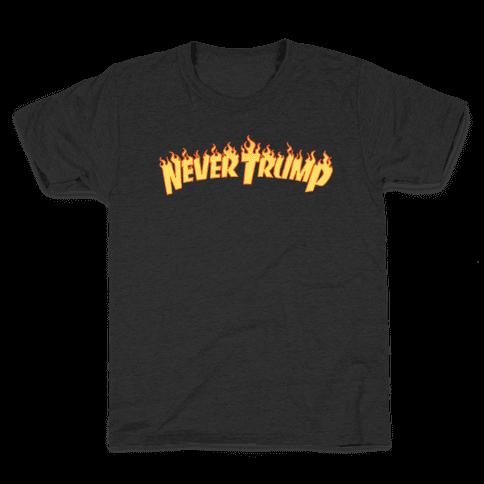 Never Trump Thrasher Logo Parody White Print Kids T-Shirt