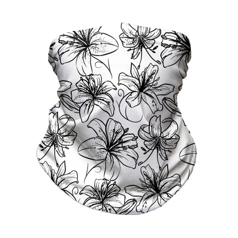 Black and White Tiger Lillies Pattern on White Neck Gaiter