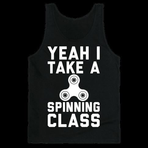 Yeah I Take A Spinning Class White Print Tank Top