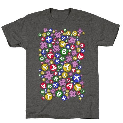 Video Game Controller Buttons Pattern Mens/Unisex T-Shirt