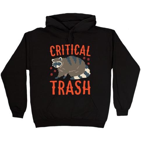 Critical Trash Raccoon Parody White Print Hooded Sweatshirt
