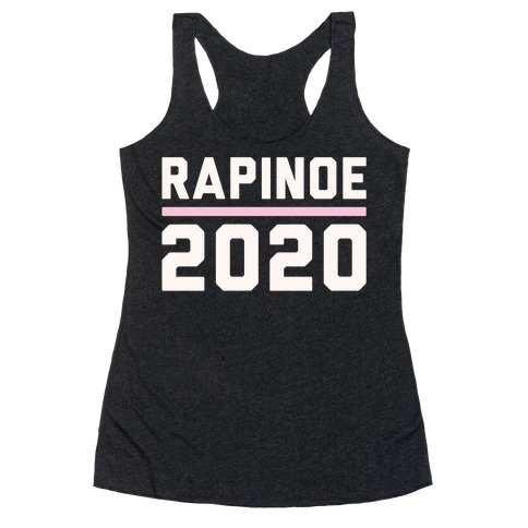 Rapinoe 2020 White Print Racerback Tank Top