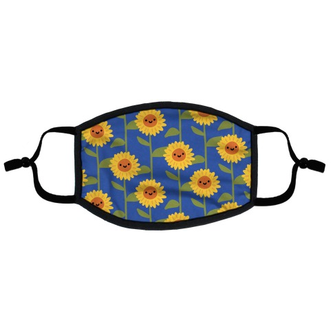 Happy Sunflower Pattern Flat Face Mask