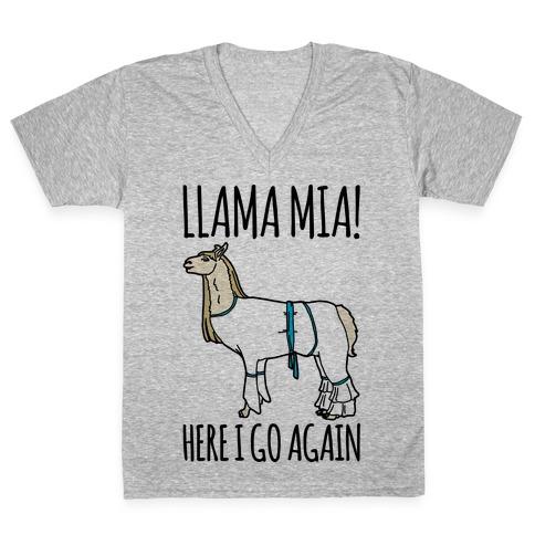 Llama Mia Parody V-Neck Tee Shirt
