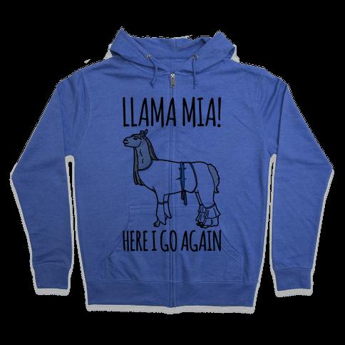 Llama Mia Parody Zip Hoodie
