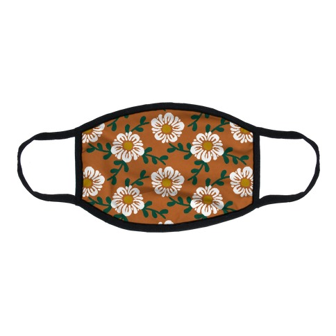Retro Flowers and Vines Rust Orange Flat Face Mask