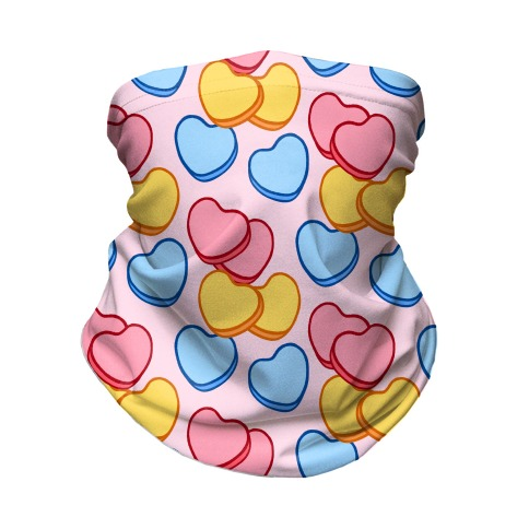 Candy Hearts Mask Pink Neck Gaiter