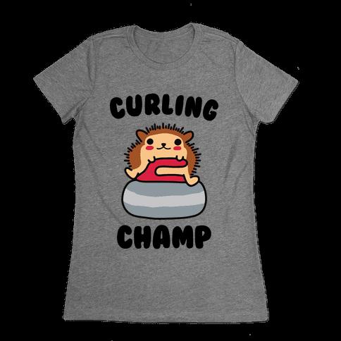 Curling Champ Womens T-Shirt