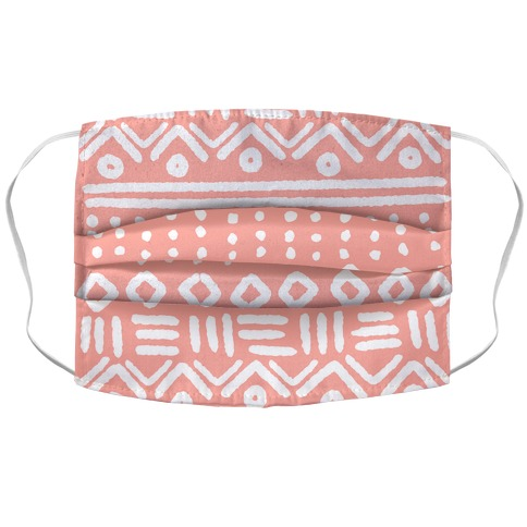 Abstract Geometric Coral Pink Boho Pattern Facemask