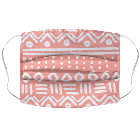 Abstract Geometric Coral Pink Boho Pattern Face Mask Cover