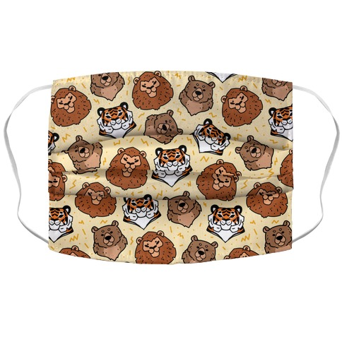 Lions, Tigers, And Bears Pattern Accordion Face Mask