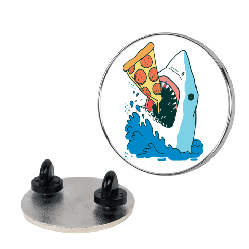 Nom Nom Pizza Shark pin