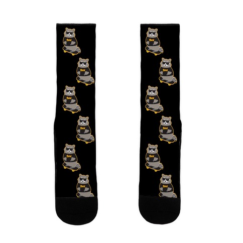Skate Trash Raccoon Parody Sock
