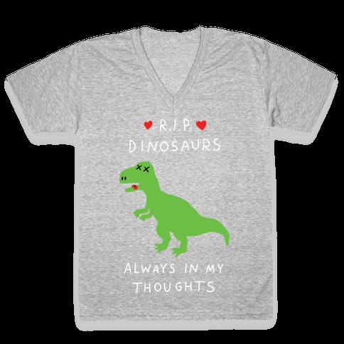 RIP Dinosaurs V-Neck Tee Shirt