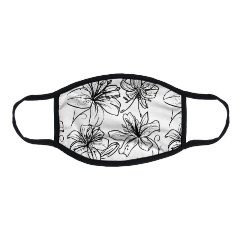 Black and White Tiger Lillies Pattern on White Flat Face Mask