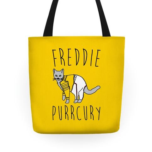 Freddie Purrcury Cat Parody Tote